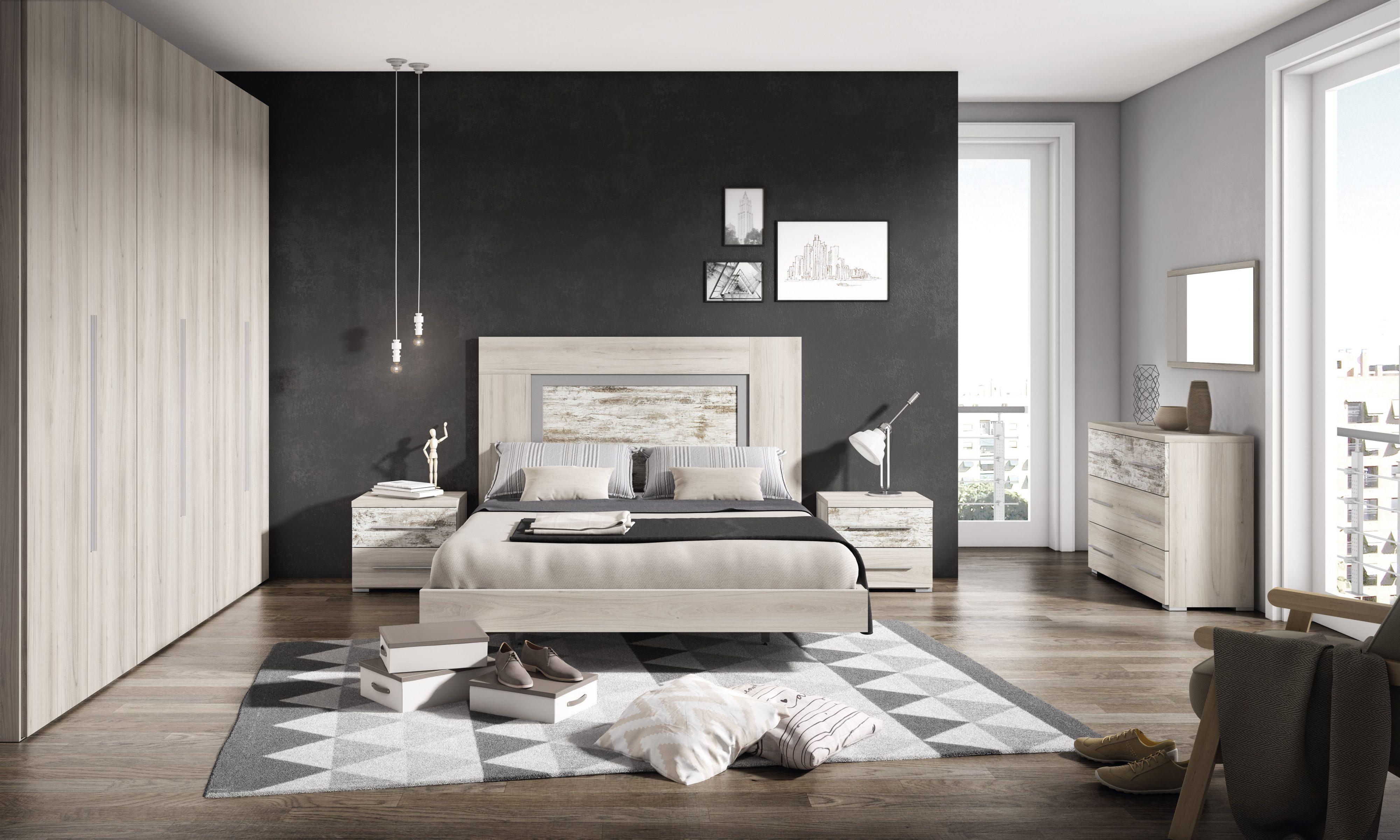 Dormitorio matrimonio con bancada opcional, con aspecto rustico y natural.