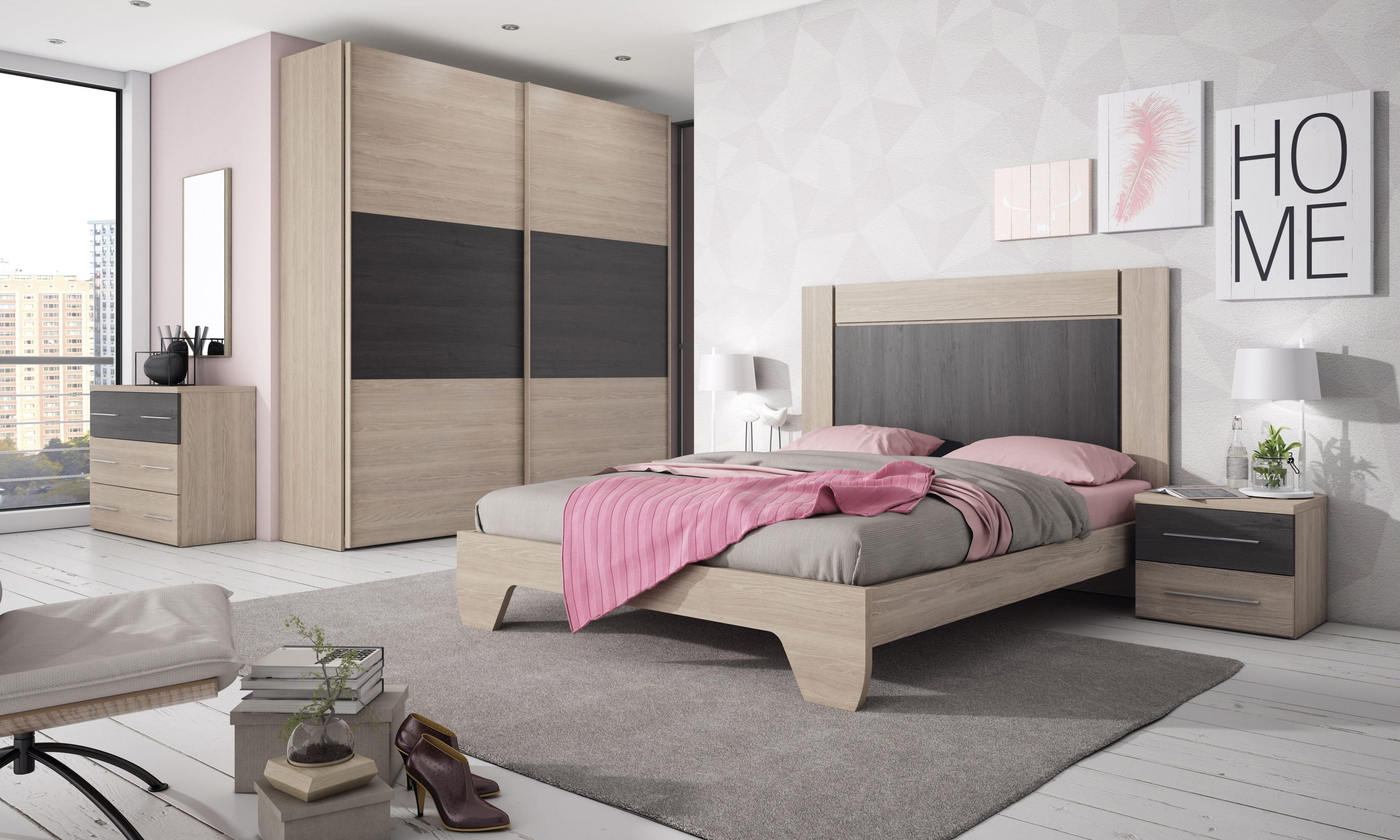 Dormitorio matrimonio en roble natural y ceniza, con diversas opciones y acabados.