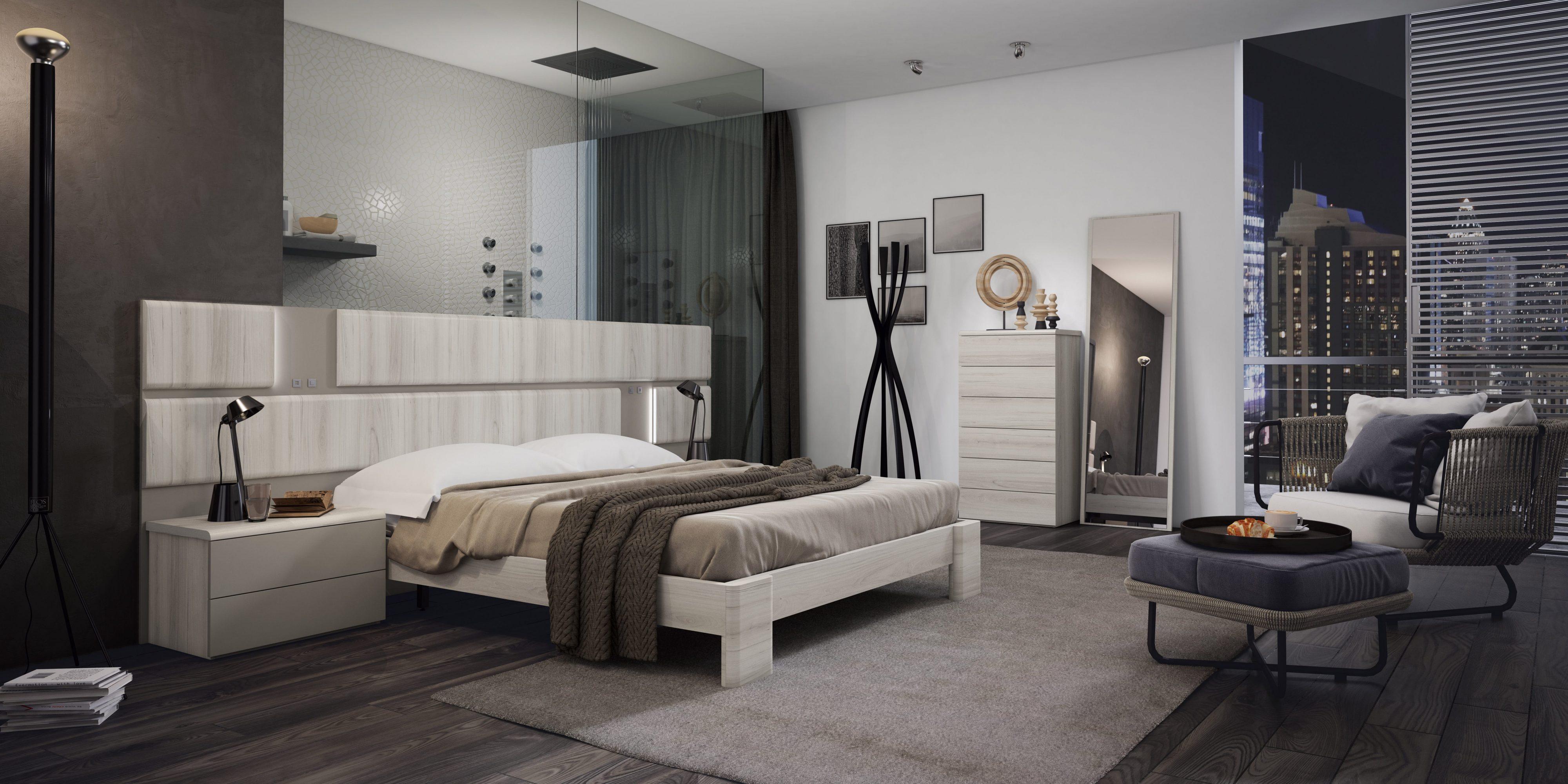 Dormitorio matrimonio con diferentes variantes, ambientes serenos y relajados con combinación de colores suaves.