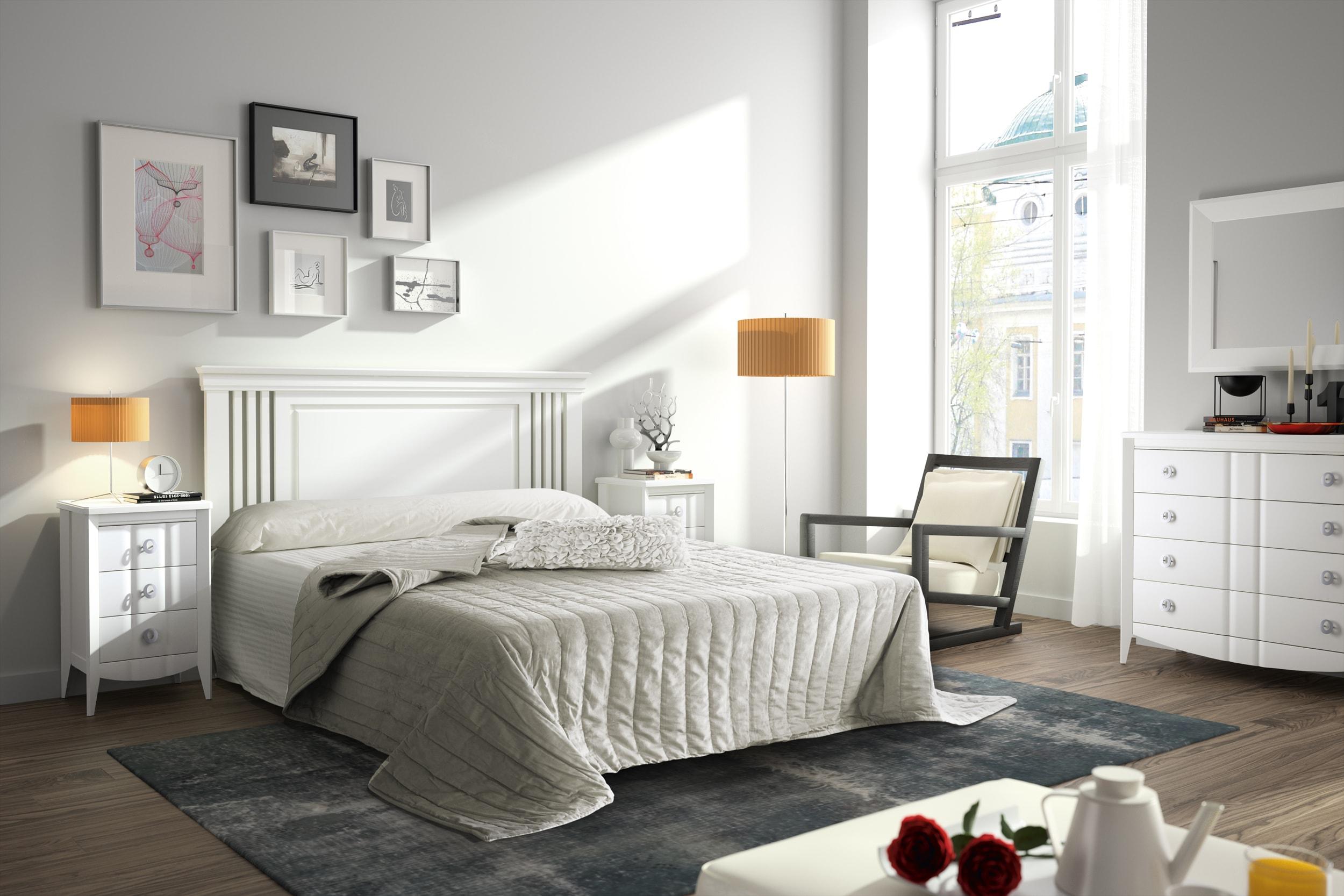 Dormitorio matrimonio en color blanco que aporta luz y elegancia en espacios reducidos.