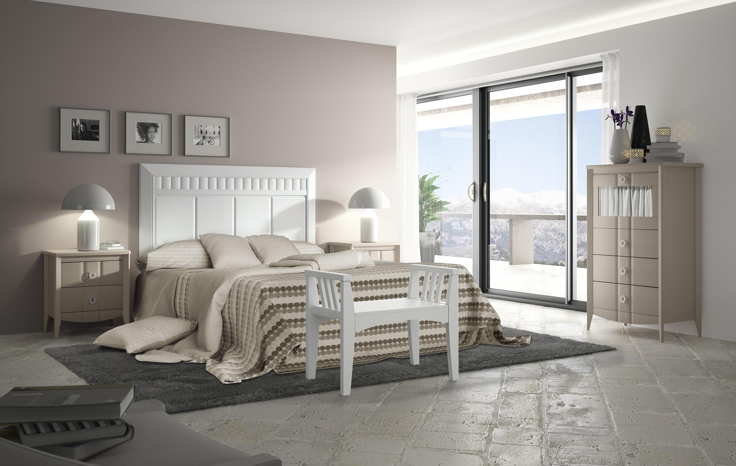 Dormitorio matrimonio con una combinación de colores suaves que crean ambientes relajados.