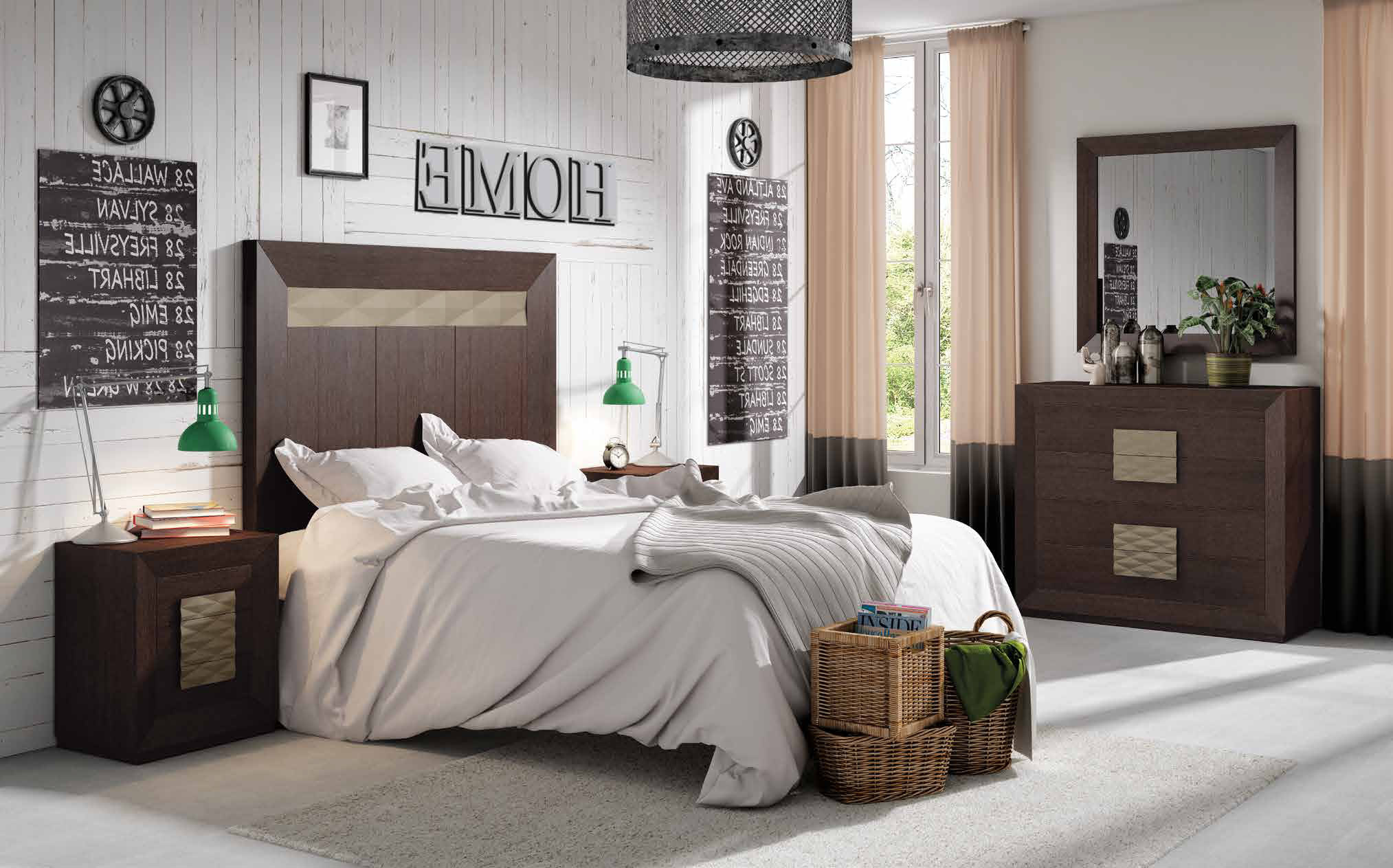 Dormitorio matrimonio con un elegante contraste de propuestas, personalízalo con el color que quieras.