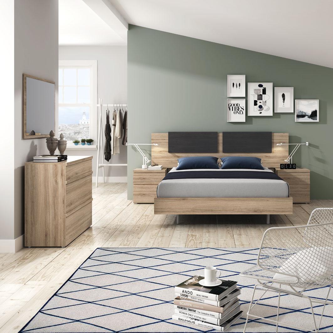 Dormitorio matrimonio con cómoda con cajón oculto en roble y ceniza. Cada elemento es una solución original.