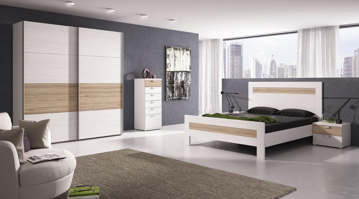 Dormitorio matrimonio con armario opcional en blanco polar y roble, se adapta a cualquier estilo del hogar.