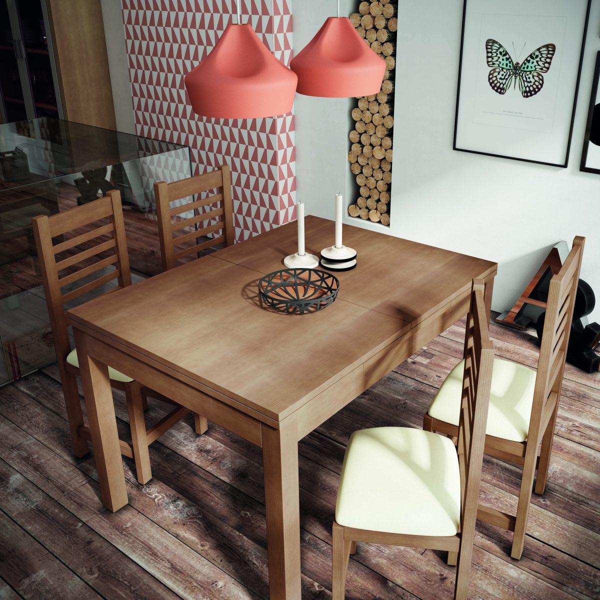 Mesa comedor de madera de 140x90 extensible a 210, funcional y práctica.