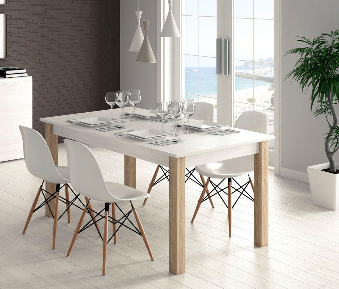 Mesa comedor de 135x90 con ala extensible a 180 cm, combina la tapa y pata como quieras.