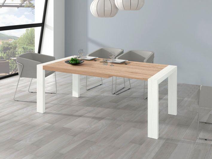 Mesa comedor de 144x90 con sistema extensible portería a 204 cm. Ideal para tus visitas. Colores variados.