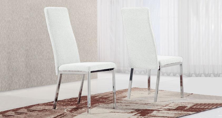 Silla comedor con estructura cromada gran resistencia, tapizado polipiel visón. Disponible en más colores.