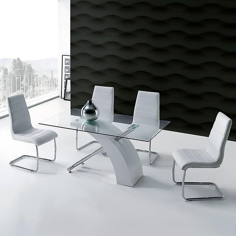 Conjunto mesa cristal fija 150x90 cm aspa en cromo y lacado blanco, con silla opcional patín metálico tapizado en polipiel.