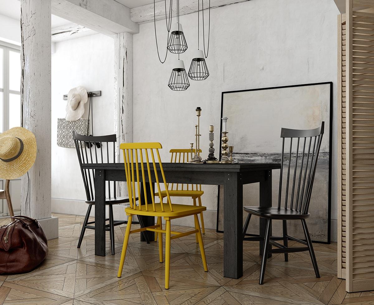 Mesa comedor 140x90 con alas extensibles de 50 cm, lo que hace un total abierta de 240 cm. Una mesa para toda la familia. Varios acabados a elegir.