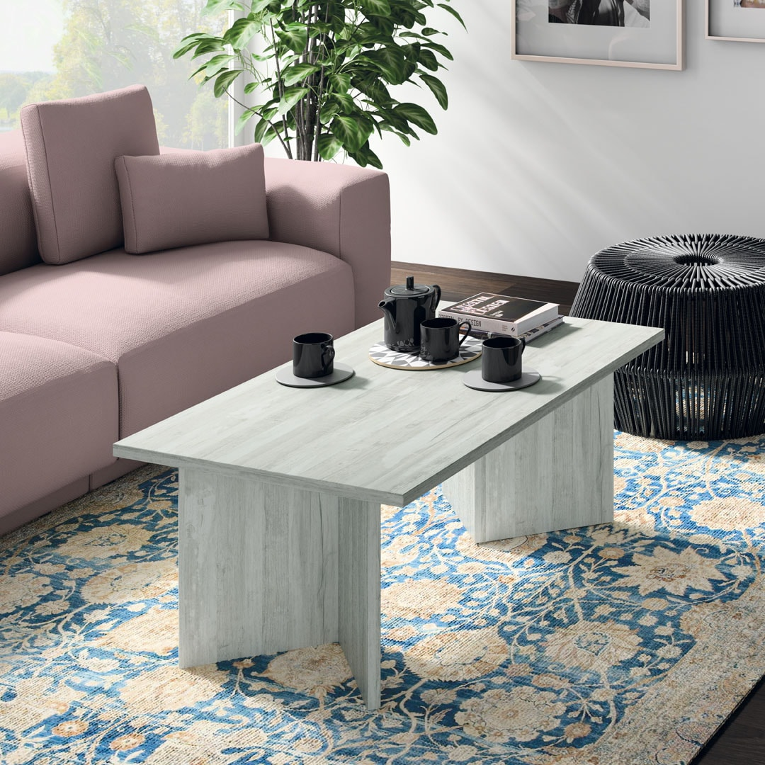 Mesa centro fija 100x50 en artic. Disponible en más acabados