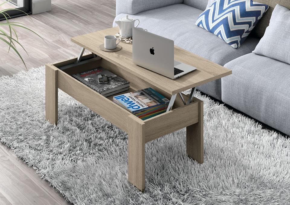 Mesa centro con tapa elevable de 100x50 cm. Un diseño discreto