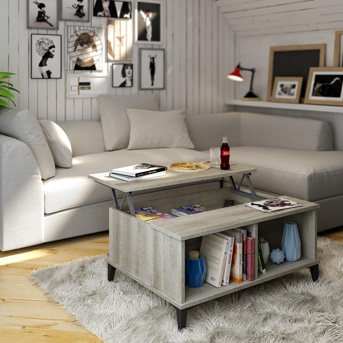 Original mesa de centro elevable de 90x66 cm con patas. Variedad de colores