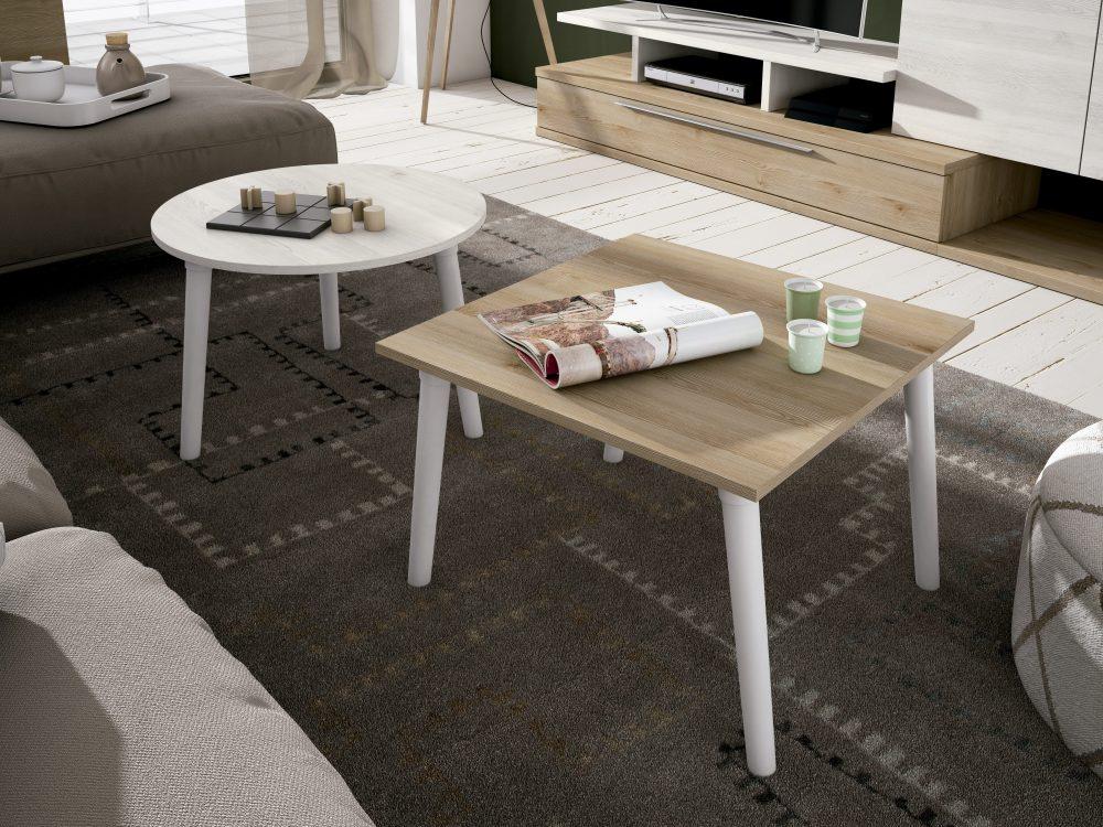 Conjunto de mesas, 60x60 cm, cuadrada y redonda con pata nórdica. Estilo inconfundible
