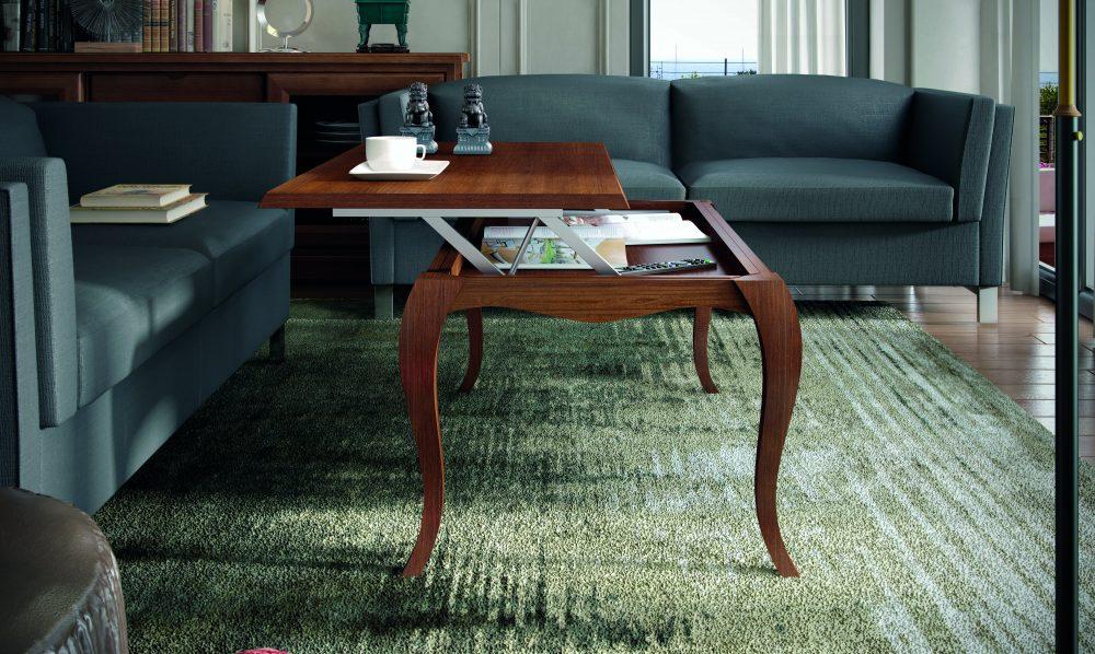 Elegante mesa de centro en madera con tapa elevable de 120x60 con pata isabelina. Varios acabados.