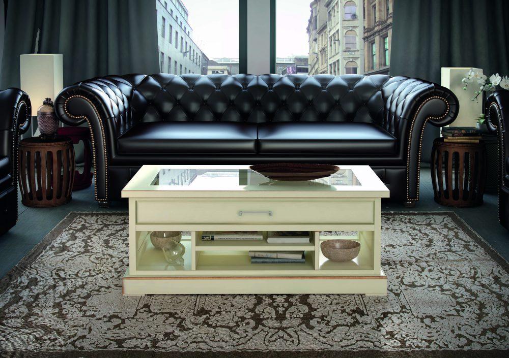 Mesa de centro en madera, robusta y sobria de 120x60 con cajón y revistero. Color opcional.