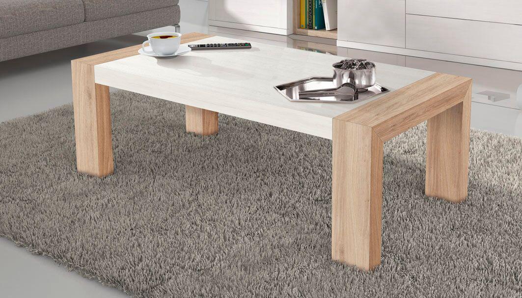 Unas mesa ideal para decorar tu salón, con una medida de 114x60 en roble natural y blanco polar.