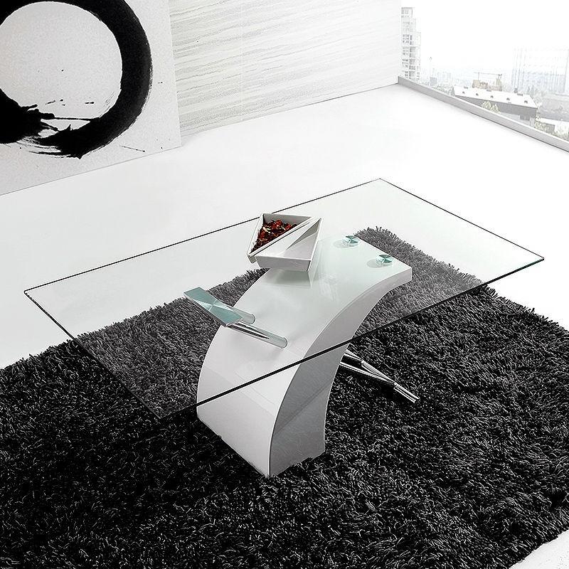 Espectacular mesa de centro fija de 110x60 con, aspa cromo-lacado blanco.