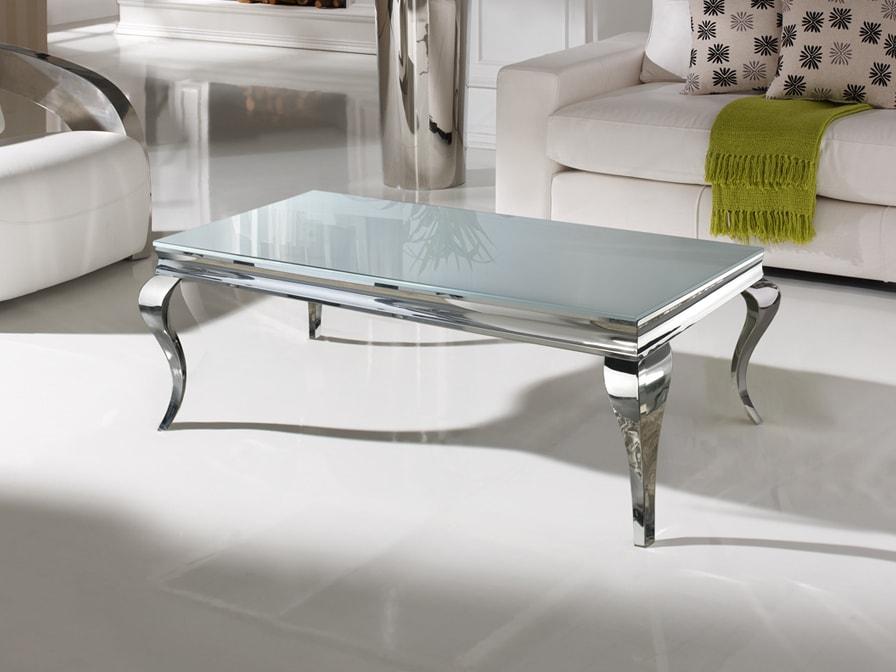 Mesa de centro con estructura en acero inoxidable y cristal templado con cristal biselado. Una mesa que no dejara indiferente a nadie.