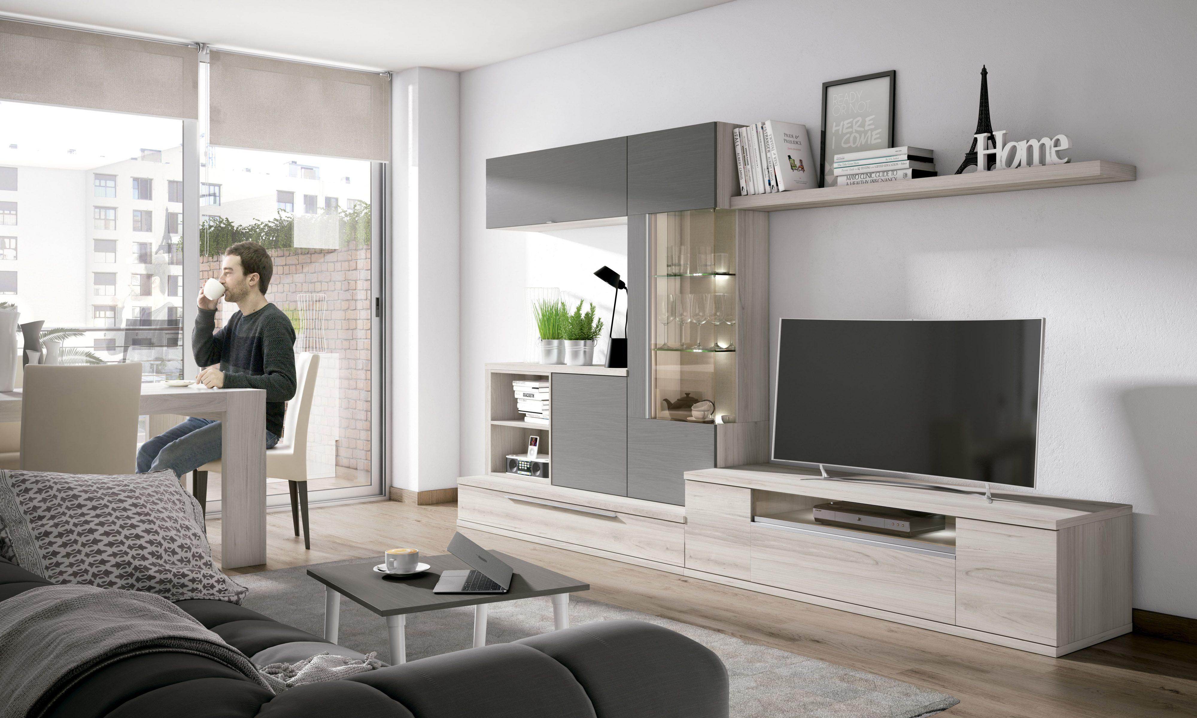 Espectacular salón modular de 330x190 cm con led opcional y varios colores a elegir.