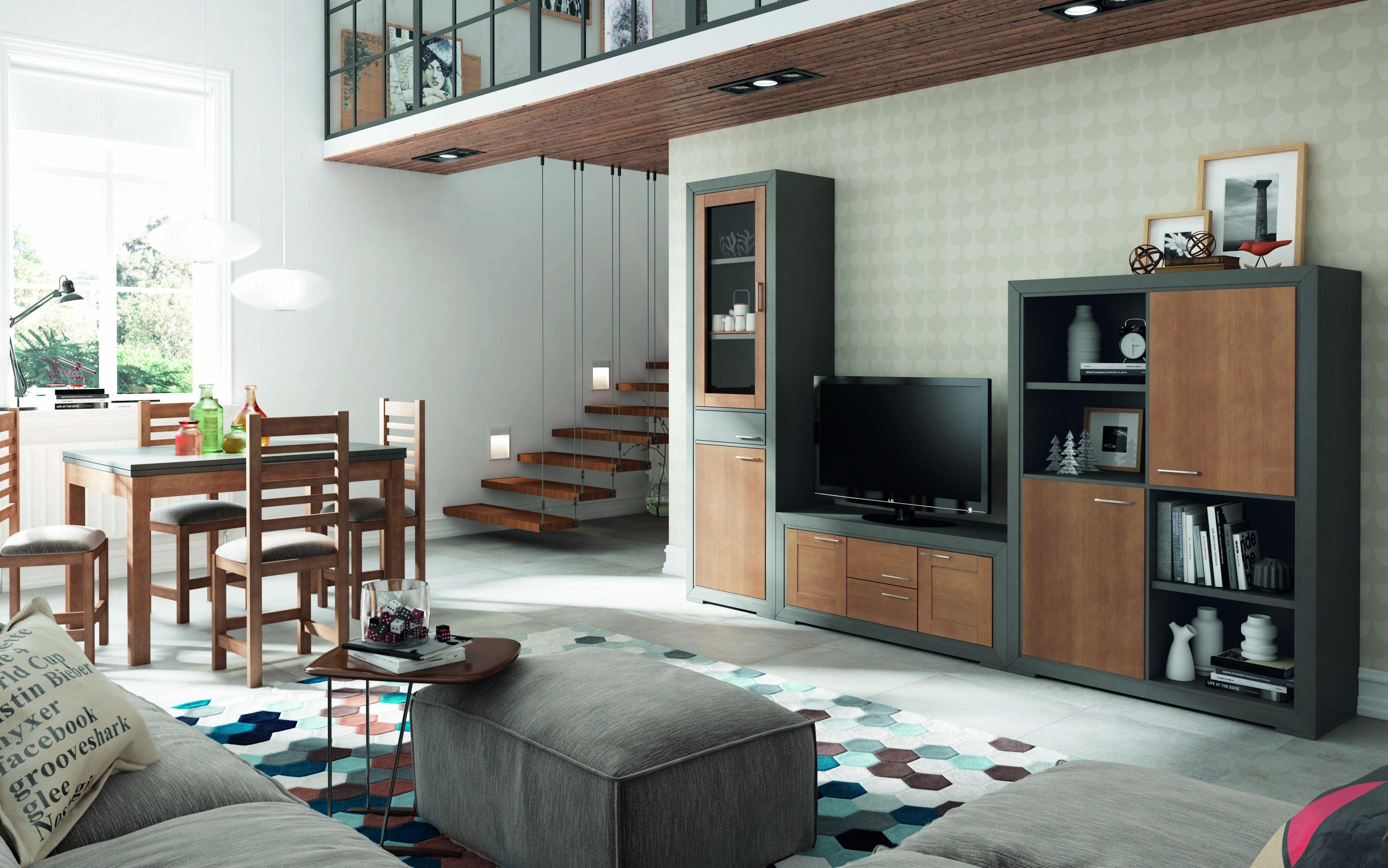 Composición modular en madera 285x208 cm en gris y roble claro. Extraordinario y convincente.
