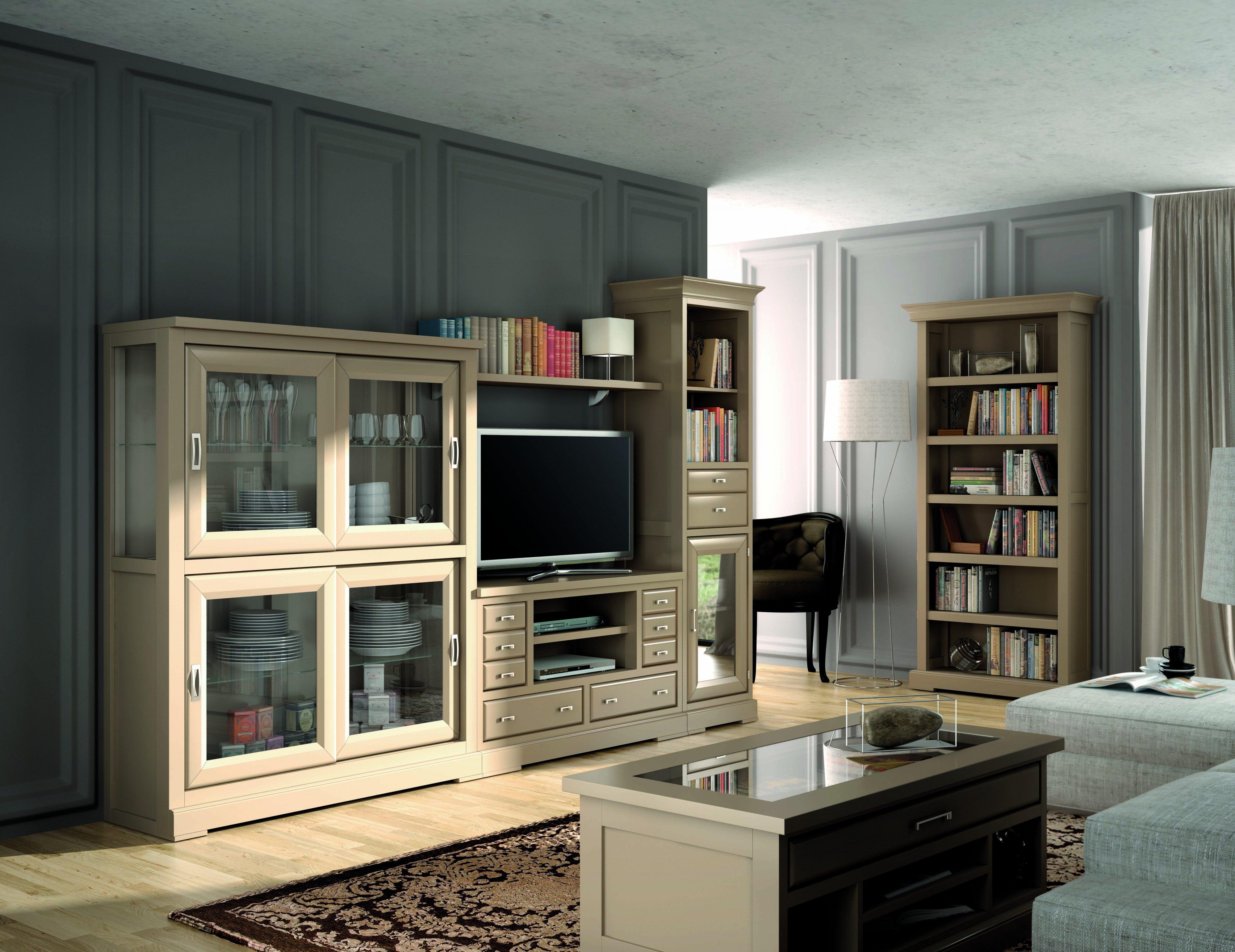 Apilable salón madera de 310x 197 con espectacular vitrina de cristal y amplia gama de colores.