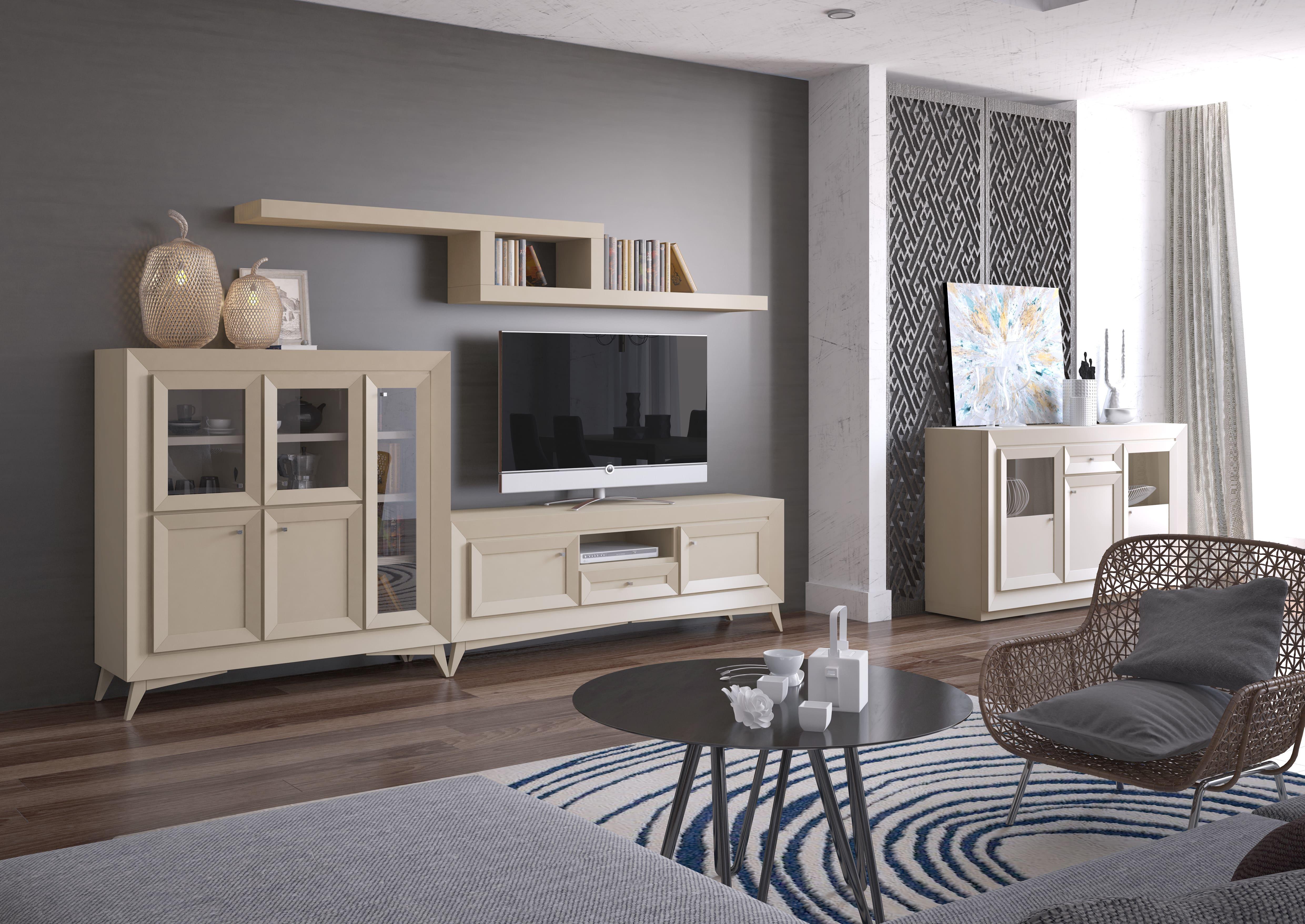 Composición modular de 290x160 cm. Innovadora colección fabricada íntegramente con maderas y chapas naturales de roble.