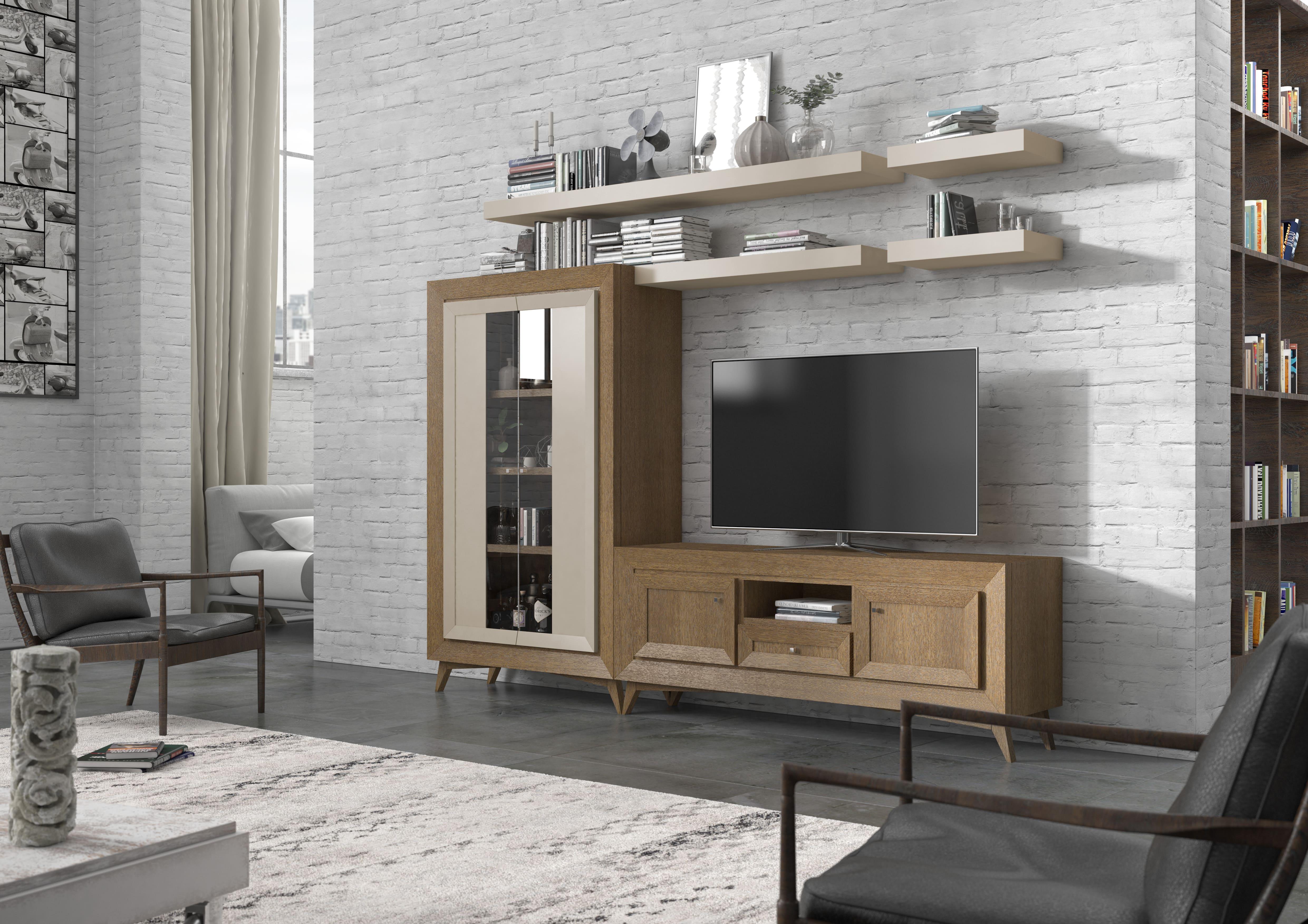 Composición en roble de 260x160 cm, estilo maduro y brillante con diferentes acabados y modulaciones.