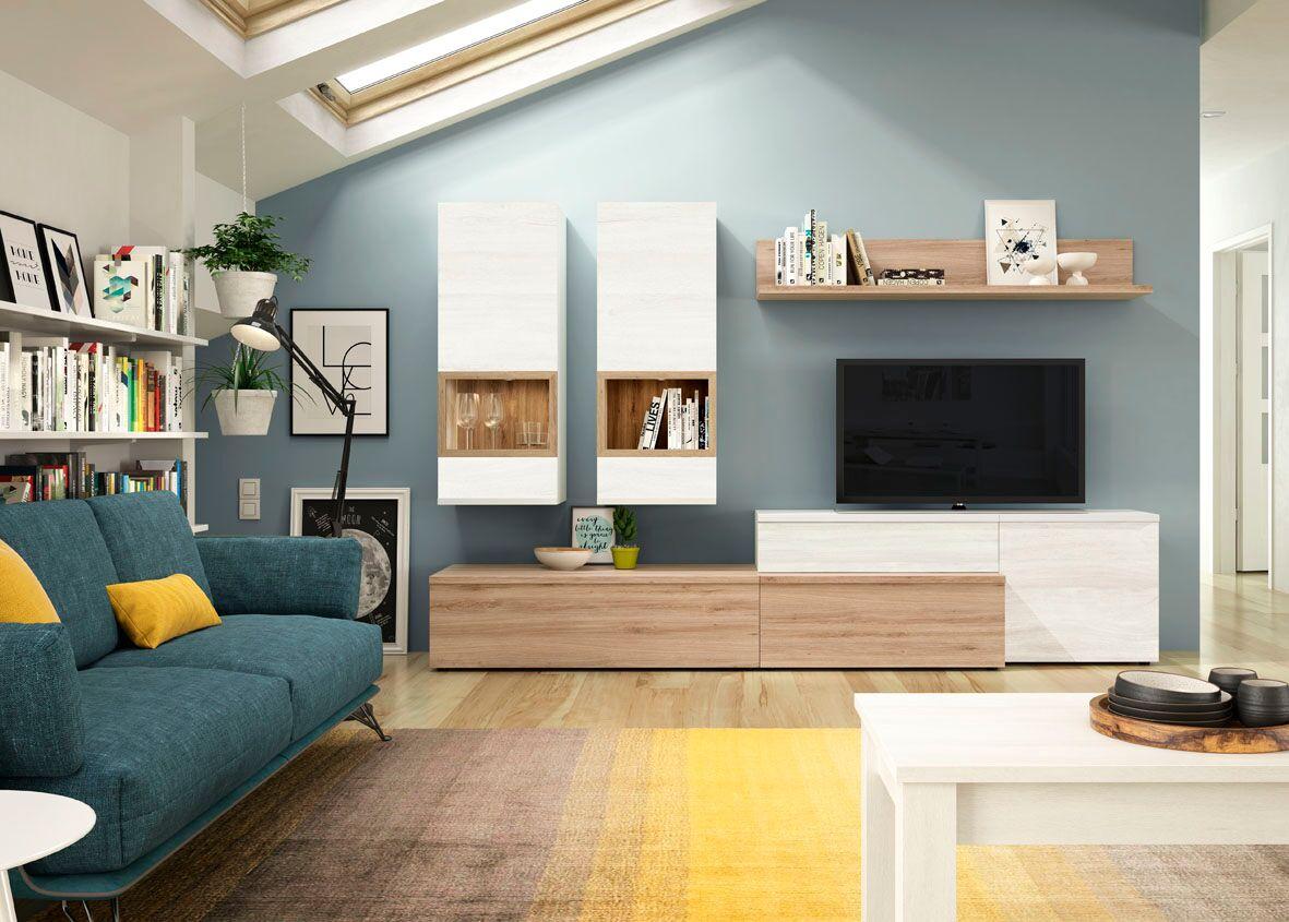 Composición de 270 cm, con columnas colgadas opcionales y amplia gama de modulación y color.
