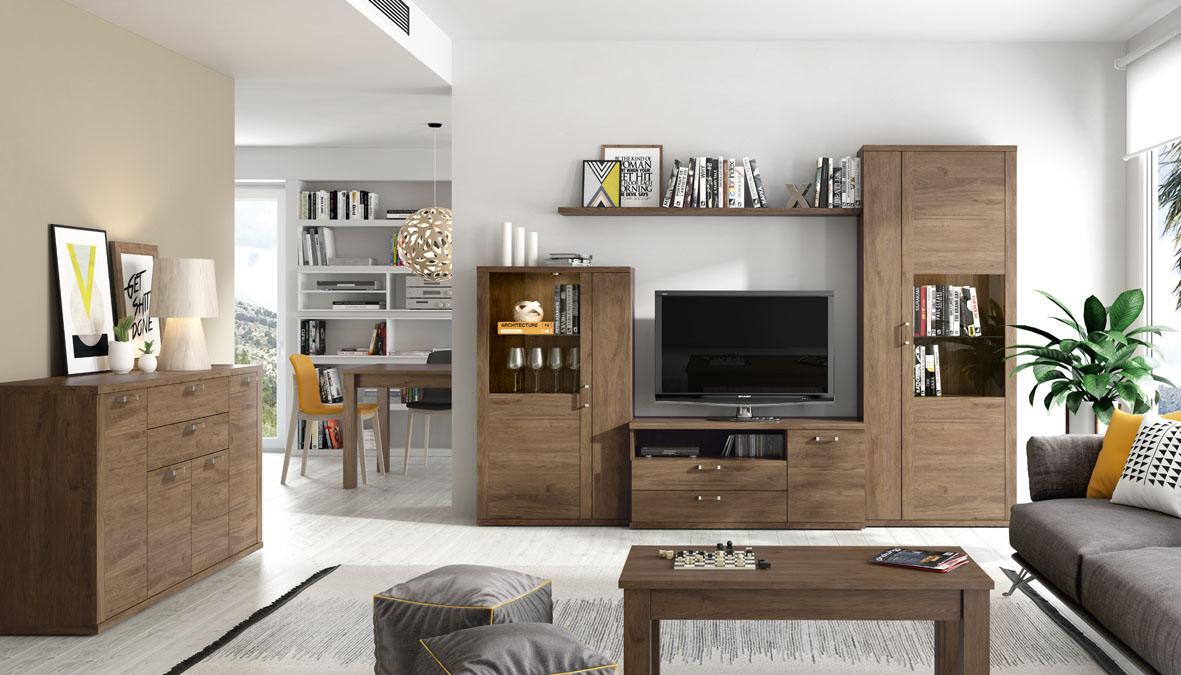 Apilable salón de 280 cm, ambiente formal en color tostado con diferentes posibilidades.