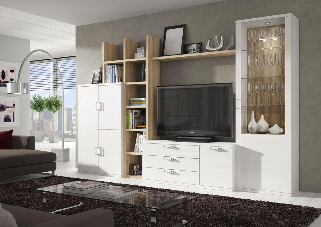 Composición 303 cm, en blanco polar y roble natural, ambientes con propuestas muy funcionales.