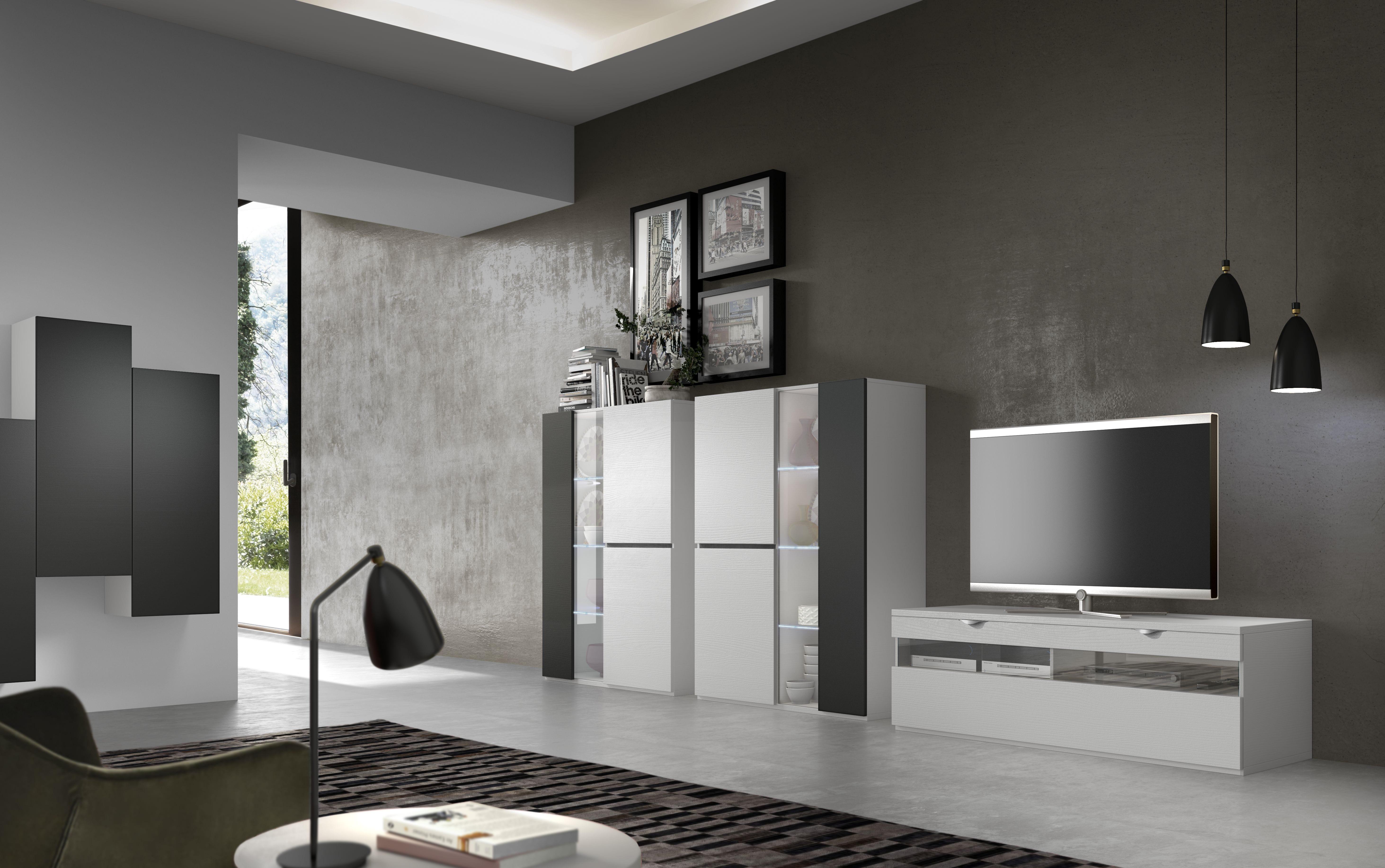 Composición 370 cm, con módulos singulares que multiplicado por dos, nos ofrece un salón de gran personalidad.