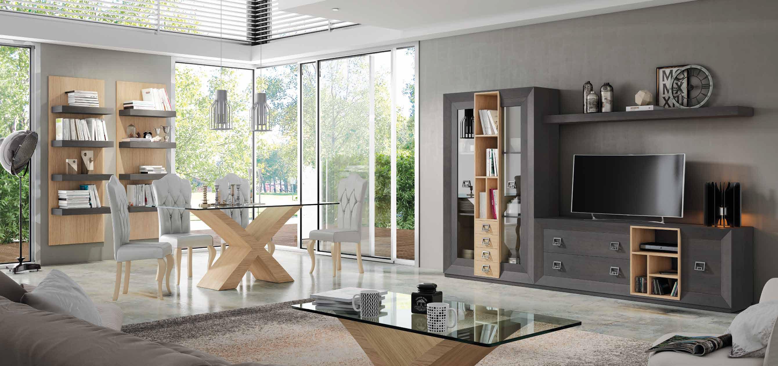Composición de 290x184, con modulares cuidadosamente equilibrados en ceniza y roble natural.