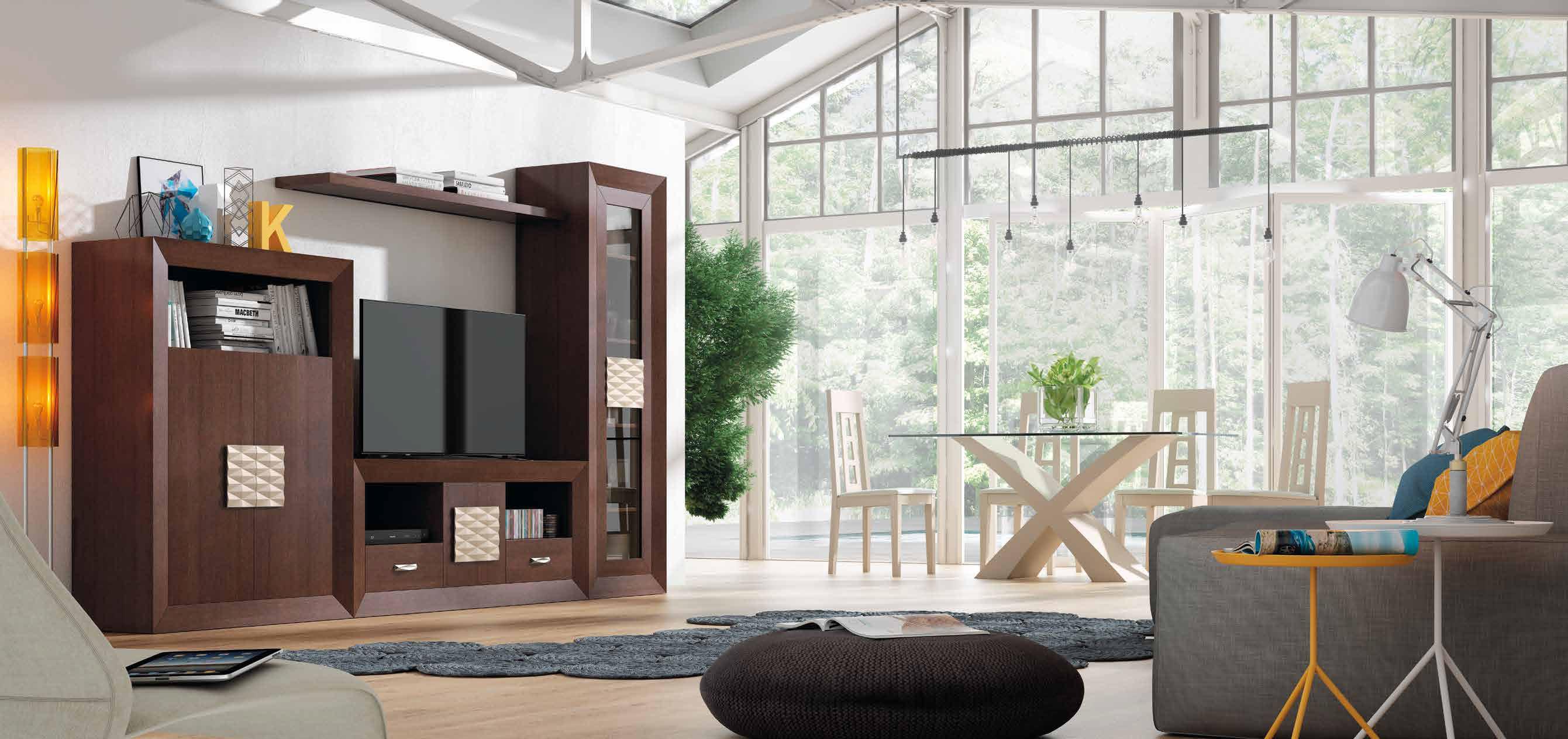 Apilable salón madera 310x190 cm, ambiente sobrio en sus acabados, con una zona de gran capacidad de almacenaje.