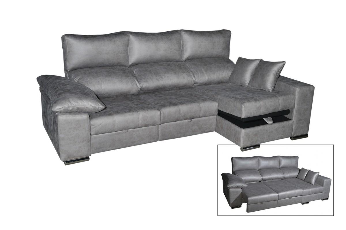 Chaiselongue de 270 cm con asientos deslizantes con posición punto a punto, respaldos reclinables y arcón. Varios colores y tejidos para elegir. Máxima funcionalidad.