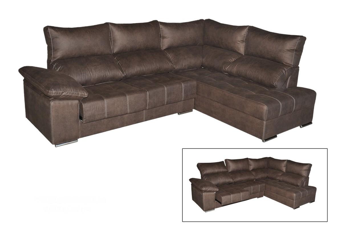 Chaiselongue 285 cm con asientos deslizantes y respaldo reclinable con arcón y puff. Configura un espacio actual.