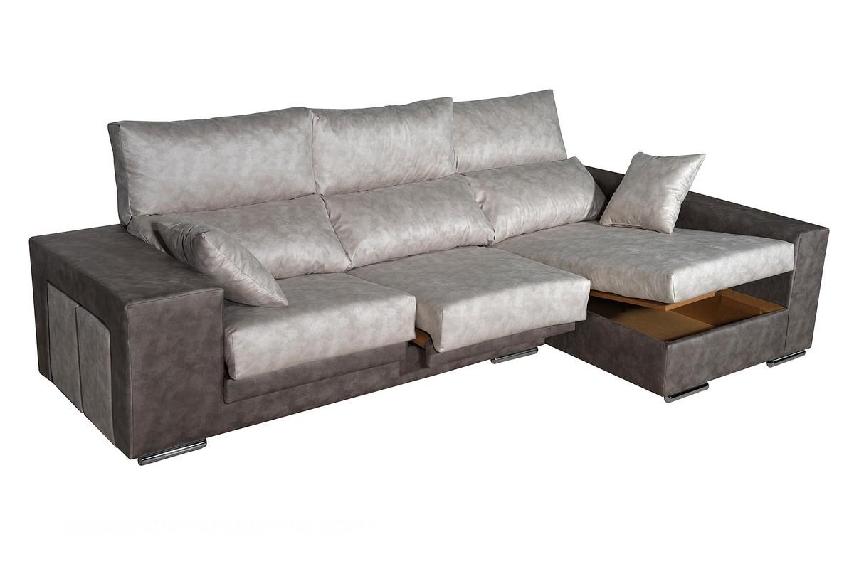 Práctico chaiselongue de 240 cm o 270 cm con asiento deslizantes y respaldo reclinable, con arcón y puff.