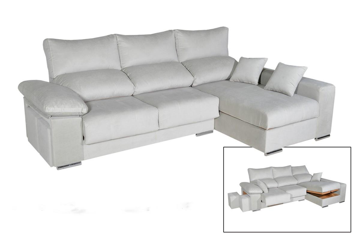 Chaiselongue 270 cm o 290 cm con asientos deslizantes metálicos punto a punto y respaldo reclinable, con arcón y puff. Tapicería a elegir, opción de hilo contrastado o a su color.
