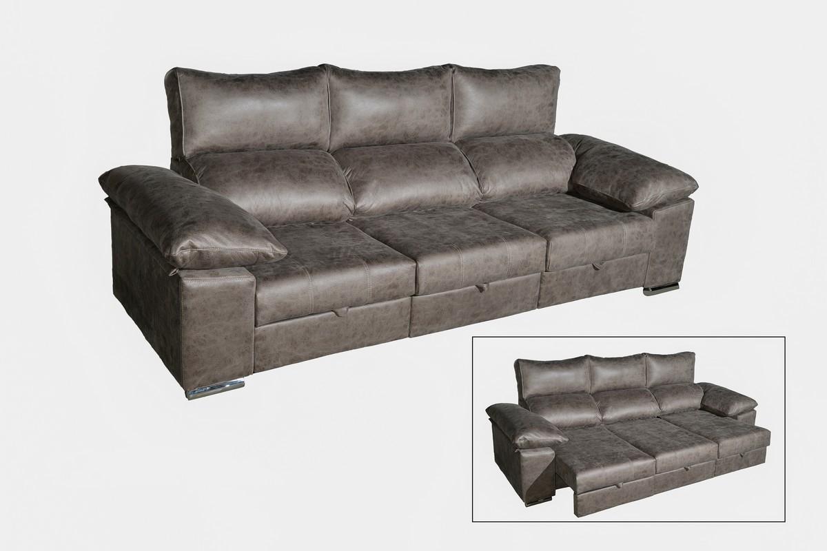 Sofá 3 plazas (275 cm) + 2 plazas (2,02) con asientos extensibles totalmente y respaldos reclinables, un diseño con mucha funcionalidad.