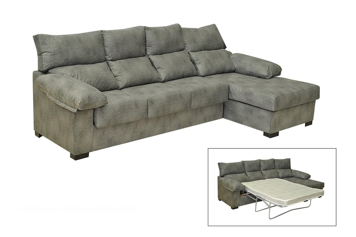 Chaiselongue-cama de 270 cm con respaldos reclinables, con somier de láminas y colchón HR alta densidad. Convertirá tu salón en un espacio ideal para descansar.