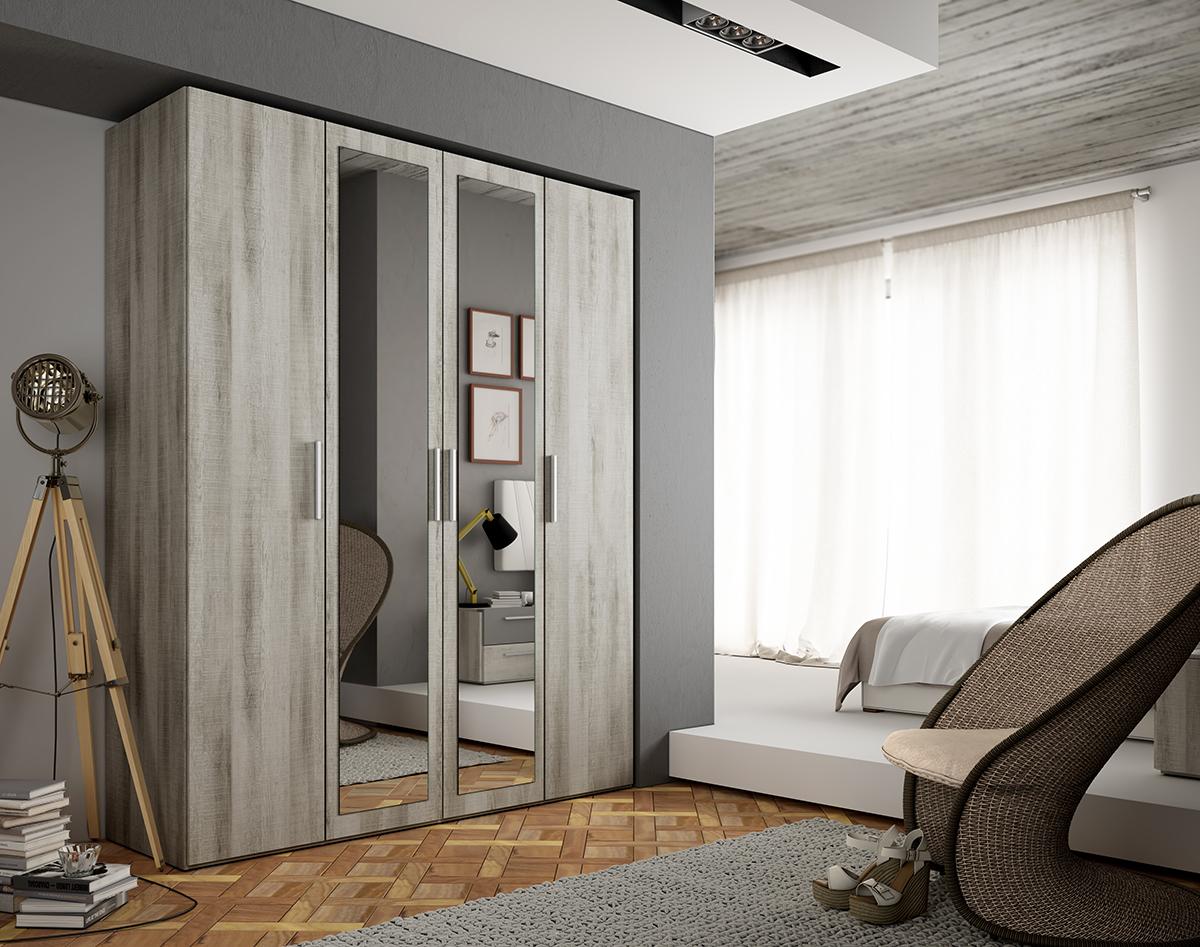 Armario de puertas abatibles con luna opcional, con un diseño desenfadado manteniendo todo en regla para que la ropa tenga el lugar perfecto. Varias medidas y acabados