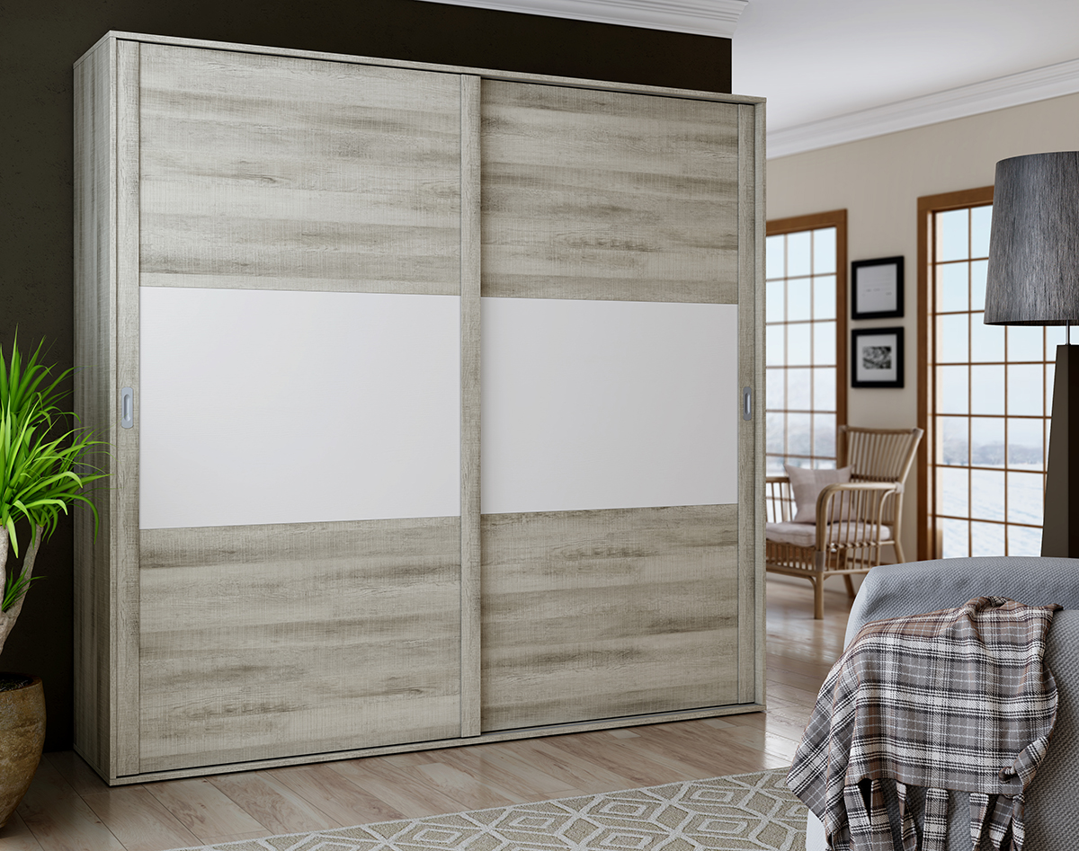 Armario de puertas correderas con un diseño depurado y sobrio hará que vuestra habitación sea realmente acogedora. Gran variedad de medidas y acabados.