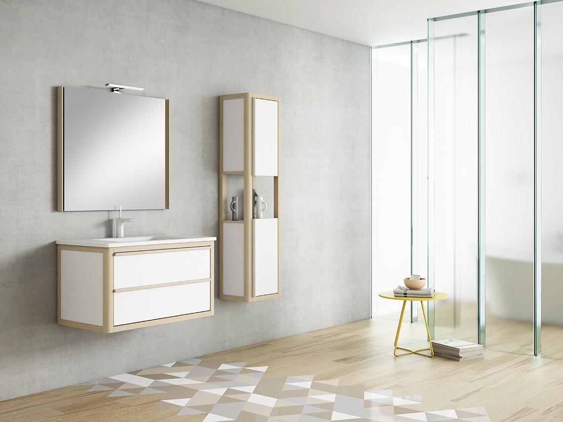 Mueble de baño suspendido con diferentes opciones de medida y complementos. Adaptabilidad al espacio y gran variedad de tonalidades a elegir.