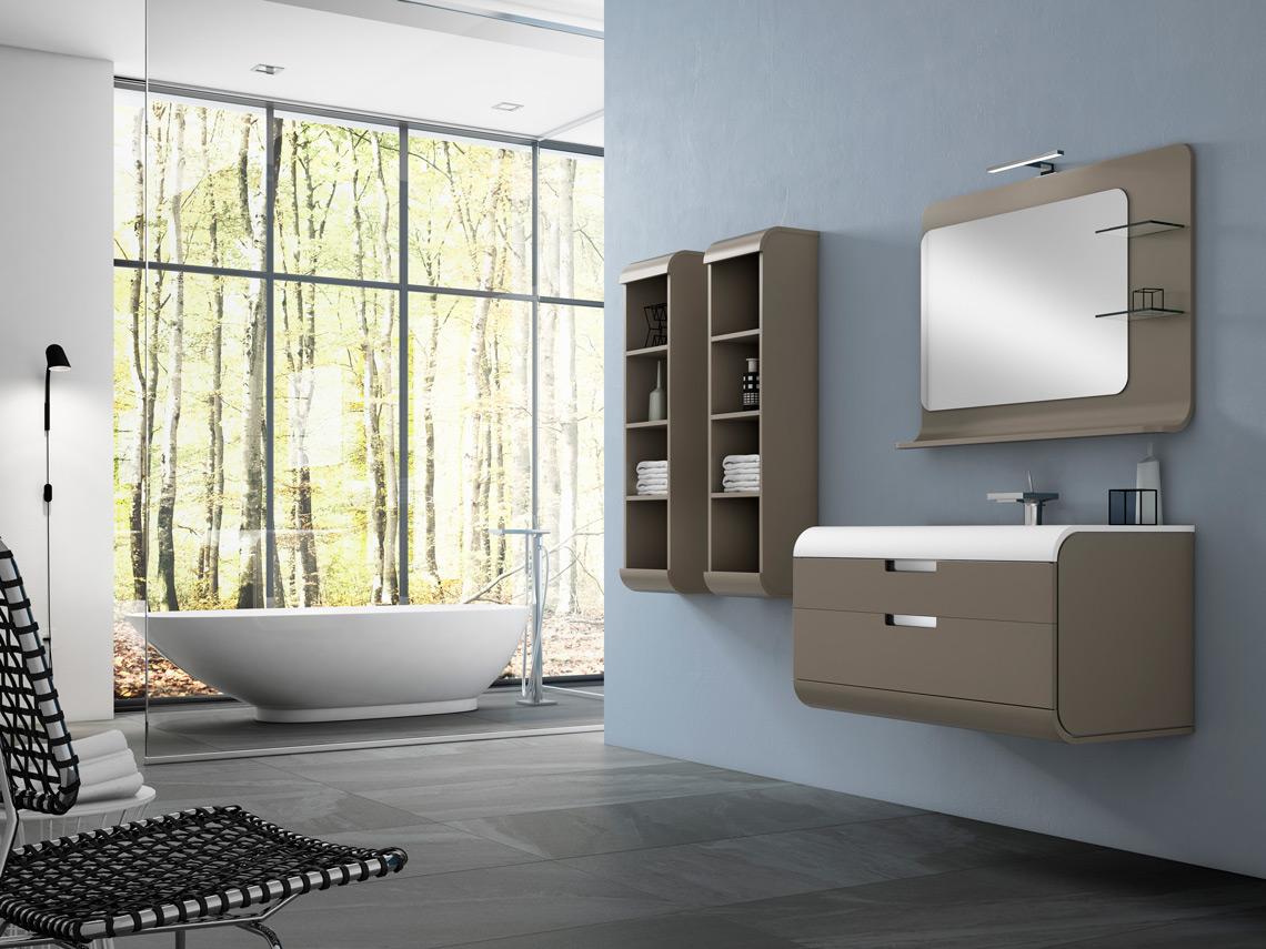 Mueble de baño suspendido con varias medidas a elegir y opción de espejo con estantes y otros complementos. Hacen de éste espacio de la casa un lugar único. Varios acabados.