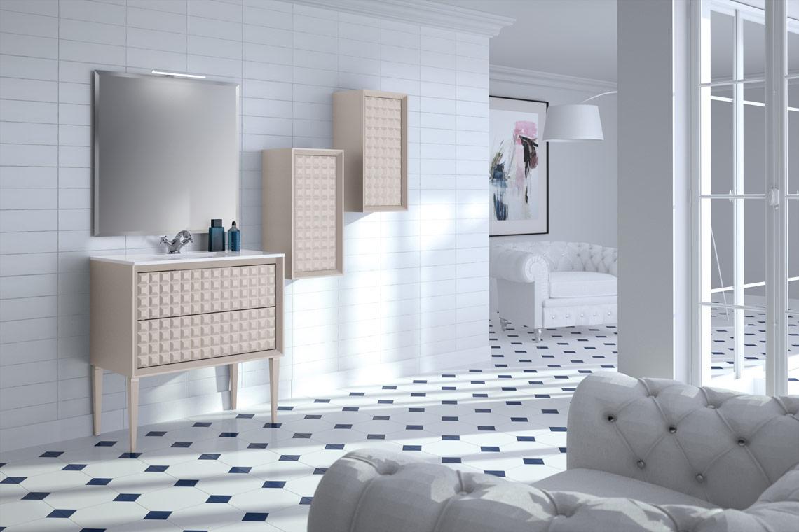 Mueble de baño con pata aguja o suspendido con diferentes opciones de medida y complementos. Mueble adaptado a las tendencias y necesidades del momento. Varios colores.