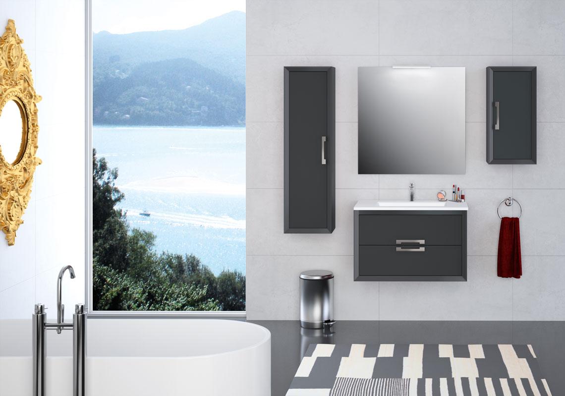 Mueble de baño con lavabo cerámico, diferentes medidas y complementos, con patas opcionales y una gran variedad de acabados. Con un concepto realmente innovador