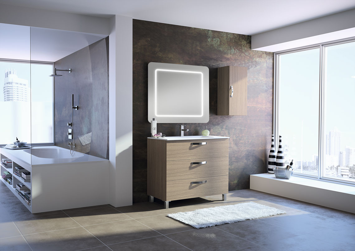 Mueble de baño con posibilidad de al suelo o suspendido, con diferentes medidas y acabados. Todo perfectamente recogido.