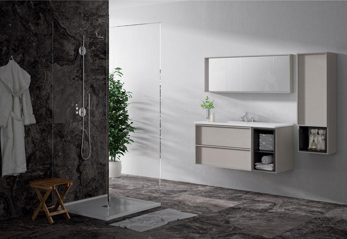 Mueble de baño suspendido con diferentes medidas y complementos, con opción de cubos interiores. Grandes acabados a elegir. Líneas elegantes y refinadas en el color que quieras.