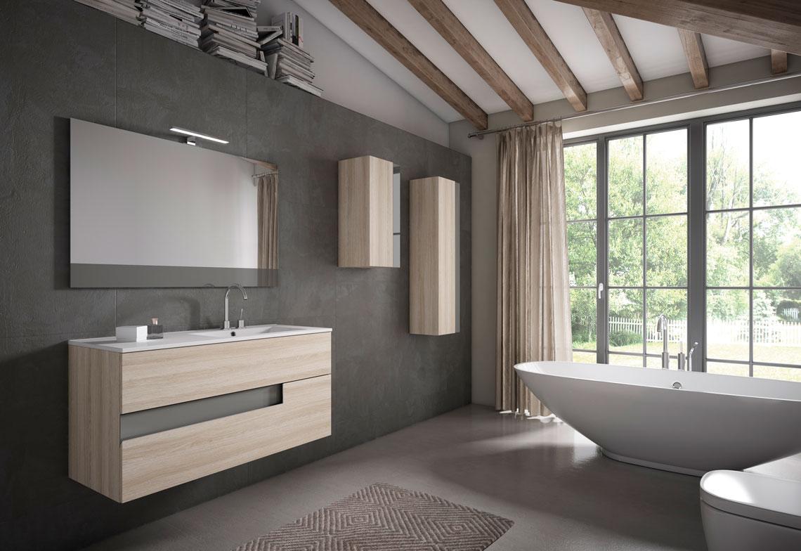 Mueble de baño suspendido en diferentes medidas, con lavabo cerámico opcional y gran cantidad de acabados. Una combinación de diseño y funcionalidad.