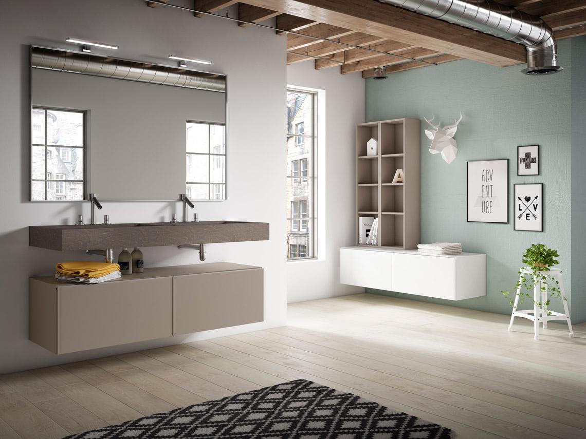 Mueble de baño suspendido con lavabo cerámico opcional con grandes opciones de medidas y acabados. Con líneas de diseño caracterizadas por su ligereza.
